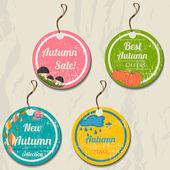 Set of 4 retro autumn tags. — Stock Vector