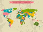 Bearbeitbare weltkarte mit allen ländern. — Stockvektor
