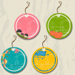 Set of 4 retro autumn tags. — Stock Vector #29015603