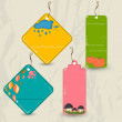 Set of 4 retro autumn tags. — Stock Vector #29010207