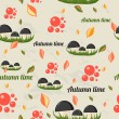 Stock Vector: Seamless pattern with autumn elements.