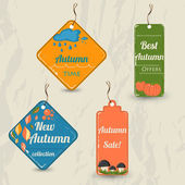 Set of 4 retro autumn tags. — Stock Vector