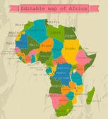 Redigerbara karta över afrika med alla länder. — Stockvektor