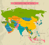 Editable Asia map with all countries. — 图库矢量图片
