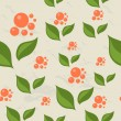 Seamless pattern with berries and leaves. — Stockvectorbeeld