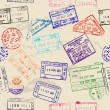 Seamless texture with real visa stamps. — Vettoriali Stock