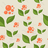 Seamless pattern with berries and leaves. — Stock Vector