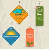 Set of 4 retro summer tags. — Stock Vector