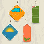Set of 4 retro summer tags. — Stock Vector