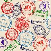 Nahtlose textur mit echten briefmarken. — Stockvektor