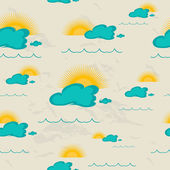 Seamless pattern with sea, sun and clouds. — Stock Vector