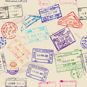 Seamless texture with real visa stamps. — Vector de stock