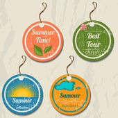Set of 4 retro summer tags. — Vecteur