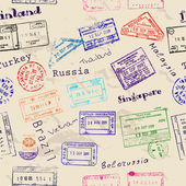 Seamless texture with real visa stamps. — Stockvector