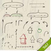 Insieme di elementi di matematica e frecce. — Vettoriale Stock