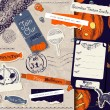 Vintage Halloween scrapbooking set. — Stock Vector