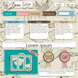 Website template with vintage elements. — Stock Vector