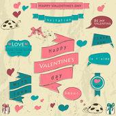 Uppsättning av vintage värdigas element om kärlek. — Stockvektor