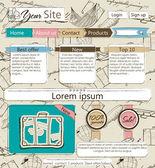 ιστοσελίδα πρότυπο με vintage στοιχεία. — Διανυσματικό Αρχείο