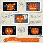 Vintage halloween post stamps set. — Stock Vector #31400733