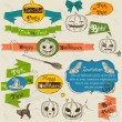 Set of vintage deign elements about Halloween. — Imagens vectoriais em stock