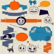 Stock Vector: Set of vintage deign elements about Halloween.