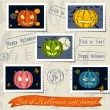 Vintage halloween post stamps set. — Stok Vektör