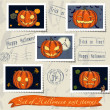 Stock Vector: Vintage halloween post stamps set.