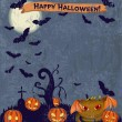 Halloween poster with cute monster. — Imagen vectorial