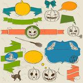 Uppsättning av vintage värdigas element om halloween. — Stockvektor