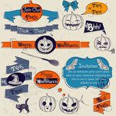 Set of vintage deign elements about Halloween. — Stock Vector