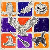 Vintage Halloween poster. — Stock Vector