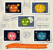 Vintage halloween post stamps set. — Stock Vector