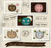 Vintage halloween post stamps set. — Stock Vector