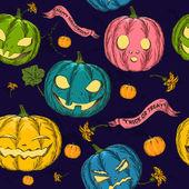 Halloween seamless background with pumpkin. — Stock Vector