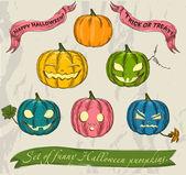 Halloween pumpkins set. — Stock Vector
