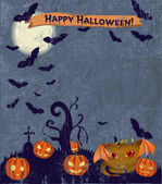 Halloween poster with cute monster. — Stock Vector