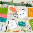 Stock vektor: Back to school scrapbooking poster.