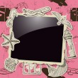 Stock Vector: Vintage photo frame with sevacation elements.
