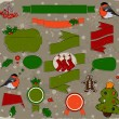 Set of Christmas elements in red and green. — Stock Vector