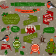 Set of Christmas elements in red and green. — Stockvectorbeeld