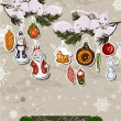 Poster with vintage Christmas decorations. — Stockvectorbeeld