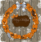 Christmas card with wreath. — Stock Vector
