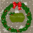 Christmas card with wreath. — Vettoriali Stock