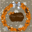 Christmas card with wreath. — Stock Vector #34173467