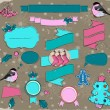 Set of Christmas elements in pink and blue. — Stockvectorbeeld