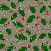 Seamless Christmas texture with holly leaves. — Stock Vector