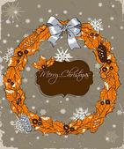 Christmas card with wreath. — Stock Vector