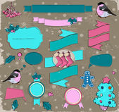 Set of Christmas elements in pink and blue. — Stock Vector