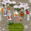 Poster with vintage Christmas decorations. — Vector de stock #34183009